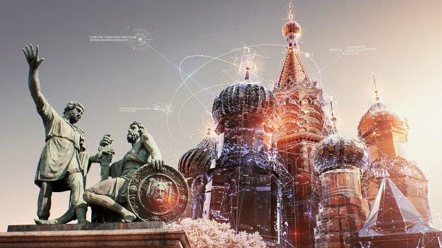 Футуристичная инфографика по датам возведения церквей Собора Василия Блаженного