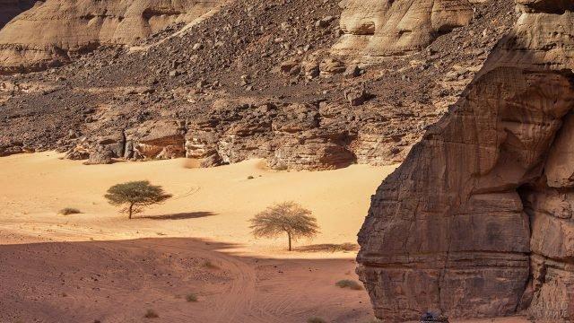 Ущелье в скалах массива Тадрарт-Акакус в пустыне Сахара