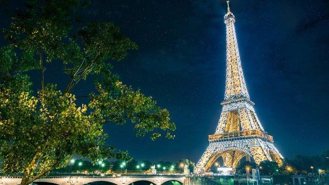 Яркие огни Эйфелевой башни на фоне летнего звёздного неба