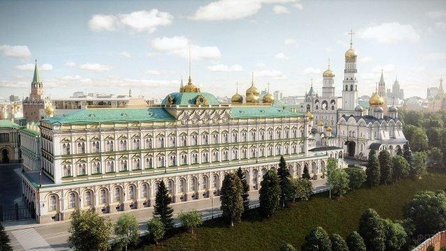 Вид с высоты птичьего полёта на Большой Кремлёвский дворец