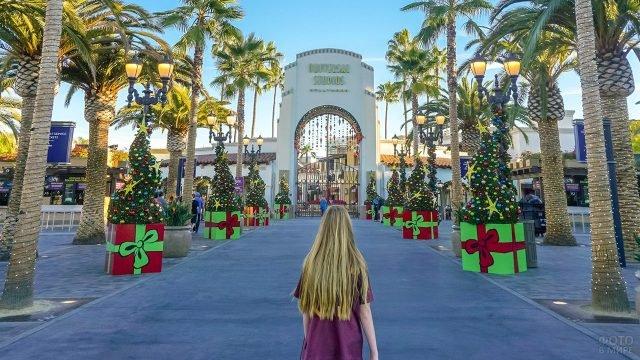 Девушка на пальмовой аллее перед воротами киностудии в Голливуде