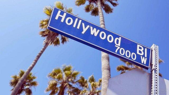 Дорожный указатель с надписью Голливуд в Лос-Анджелесе