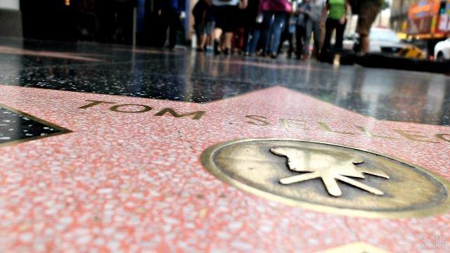 Крупный план плиты со звездой на Голливудской Аллее Славы