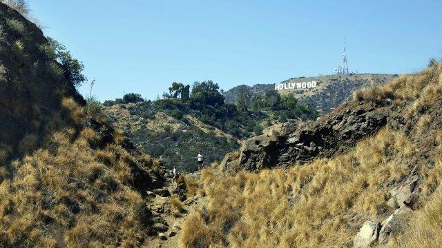 Туристы на склоне холма напротив надписи Голливуд