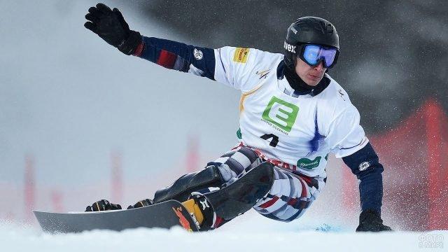 Сноубордист на соревнованиях