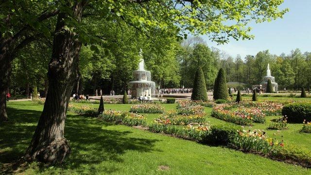 Цветущие клумбы и тенистые деревья Нижнего парка