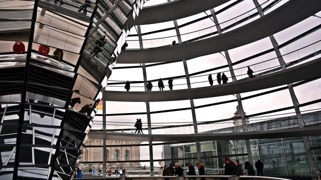 Многоуровневая смотровая площадка внутри купола на здании Рейхстага