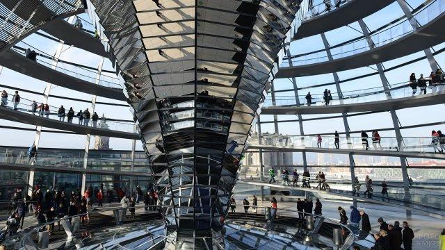 Туристы на многоуровневой смотровой площадке в Фостеровском куполе на здании Рейхстага