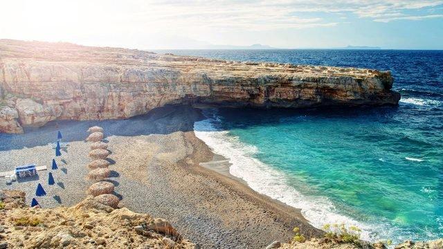 Панорама пляжа Скалета на острове Крит