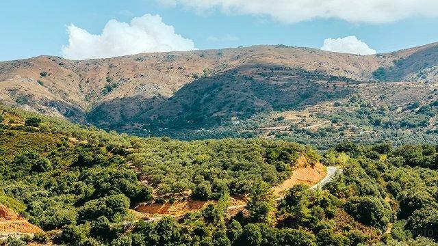 Панорама предгорья на острове Крит