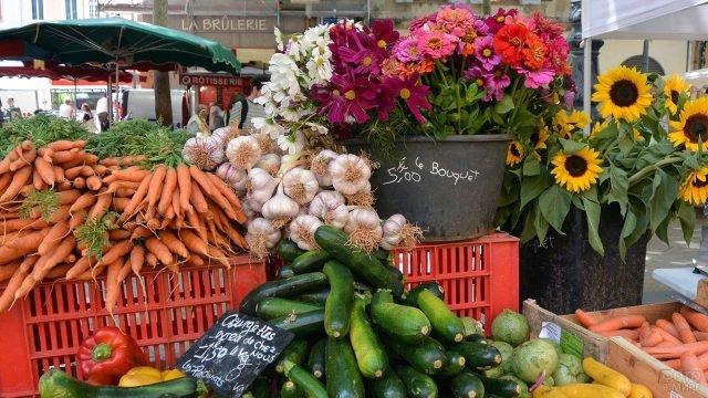 Овощи и цветы на рынке в столице Прованса