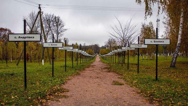 Аллея памятных табличек с названиями погибших сёл в Чернобыльской зоне отчуждения