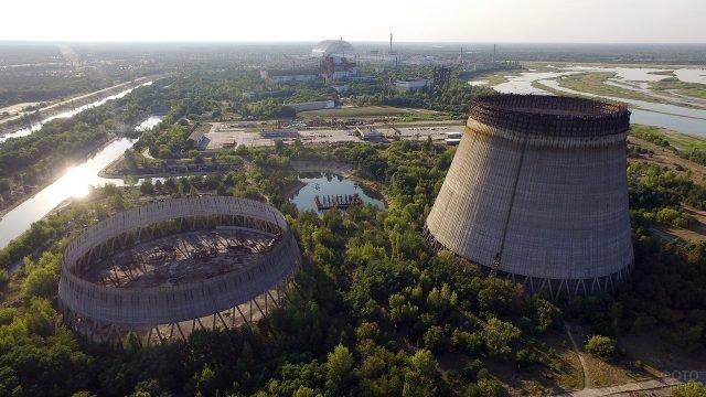 Панорама Чернобыльской зоны отчуждения с высоты птичьего полёта