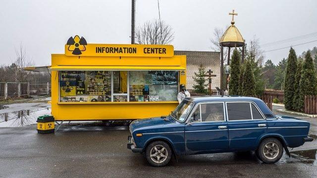 Сувенирная лавка при въезде в Чернобыльскую зону отчуждения