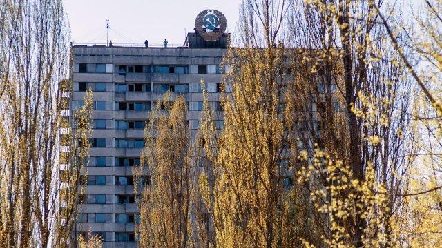 Осенняя крона дерева на фоне заброшенного здания с гербом СССР в Припяти