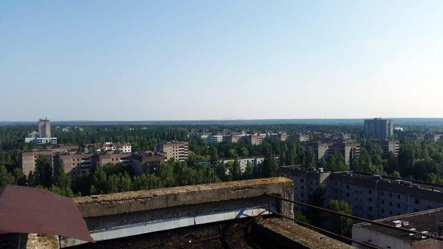 Панорама Припяти с крыши заброшенного дома