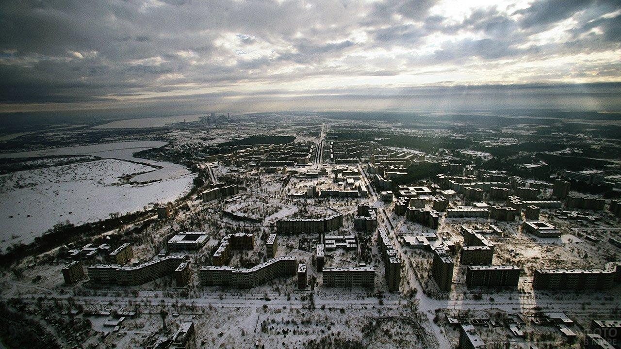 Панорама зимней Припяти с высоты птичьего полёта