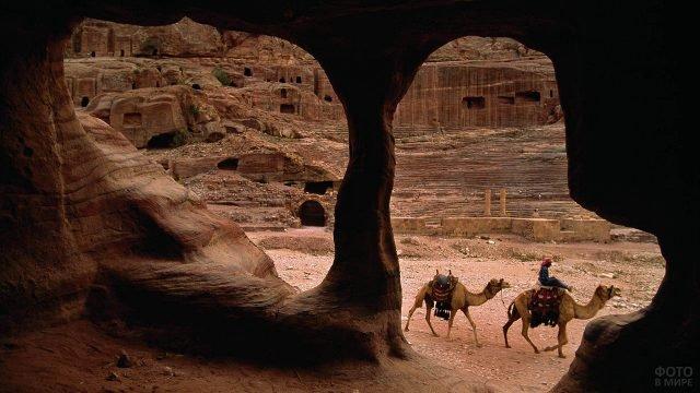 Вид из пещеры на проводника с верблюдами