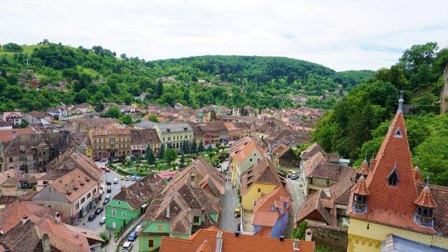 Панорамный вид на город среди зелёных деревьев