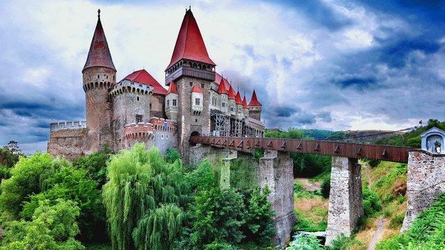 Плакучая ива у подножья замка Корвинов