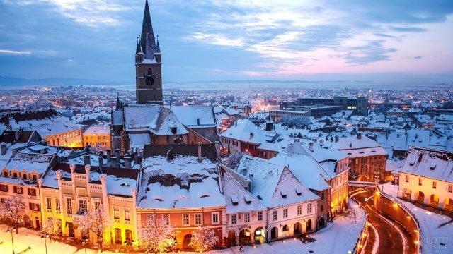 Зимняя Трансильвания вечером