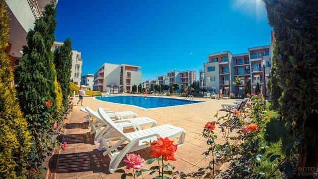 Цветущий сад во дворе с бассейном при отеле на курорте Солнечный берег