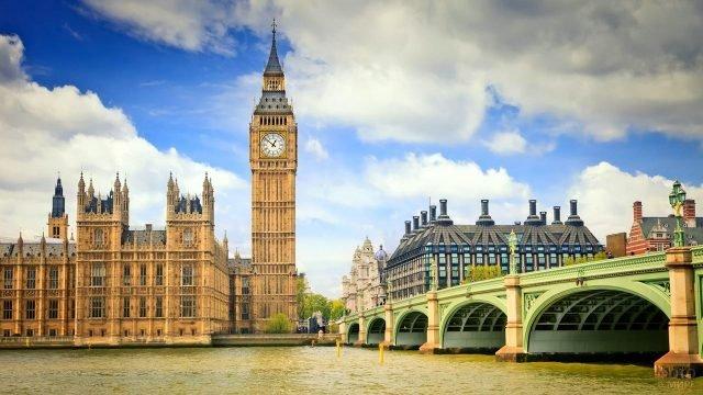 Вестминстерский мост и одноимённый дворец с башней Биг-Бен
