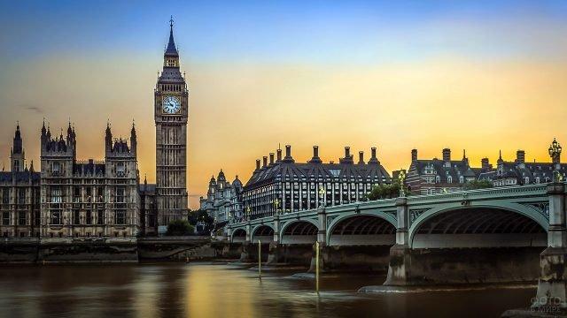 Закат над Вестминстерским мостом и дворцом
