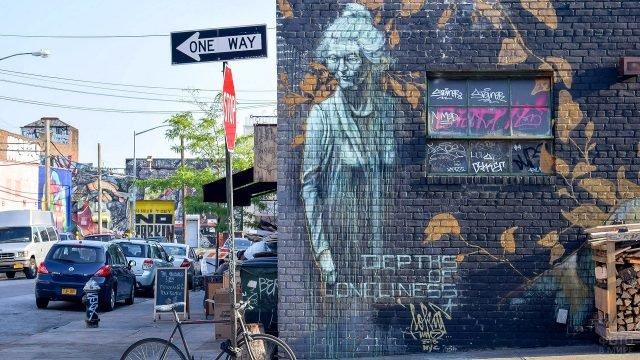 Необычное граффити на одном из домов Бруклина