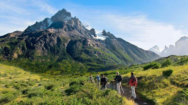 Туристы на тропинке летом на фоне гор