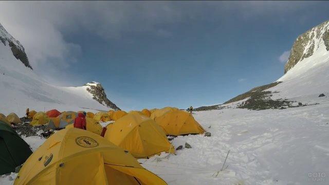 Жёлтые палатки в базовом лагере Эвереста