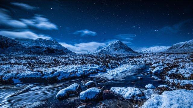 Зимний горный ручей на фоне горных вершин