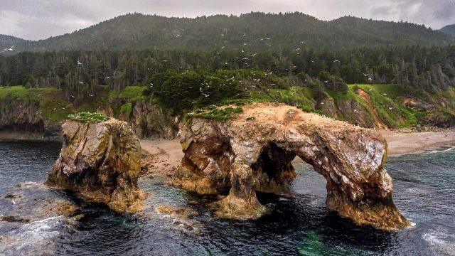 Прекрасный вид на мыс и побережье моря