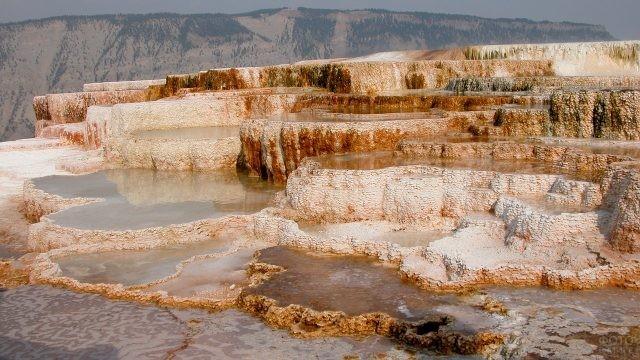 Необычные каменные породы горячих источников