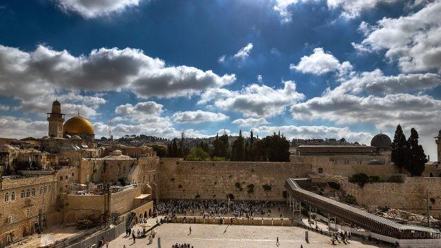 Западная стена Второго Храма - Стена Плача на панораме Иерусалима