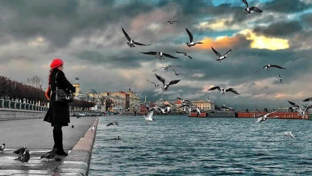 Девушка на набережной с кружащими вокруг чайками