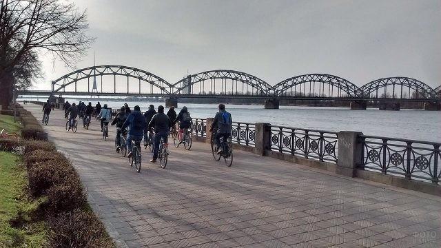 Велосипедисты на набережной в Риге