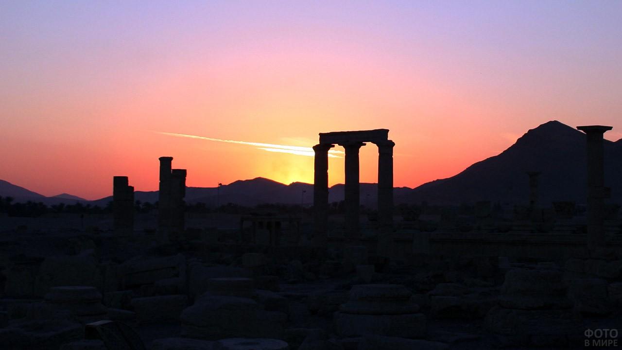 Силуэт руин в Пальмире на фоне предрассветного неба