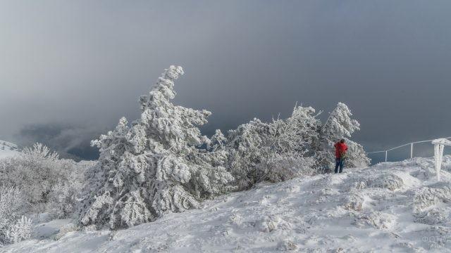 Мужчина в красной куртке делает снимки с горы Ай-Петри
