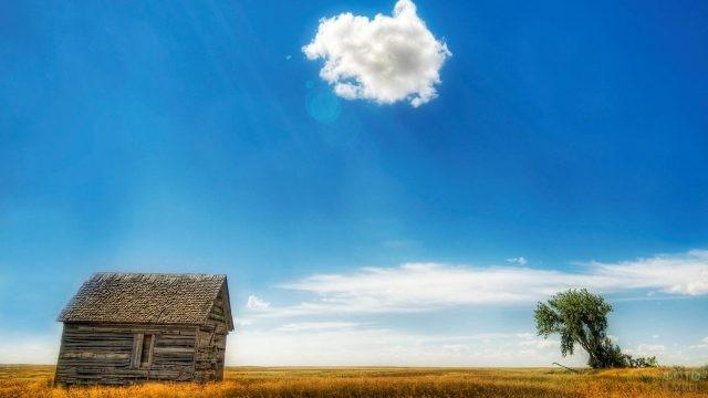Старый деревянный дом на фоне голубого неба