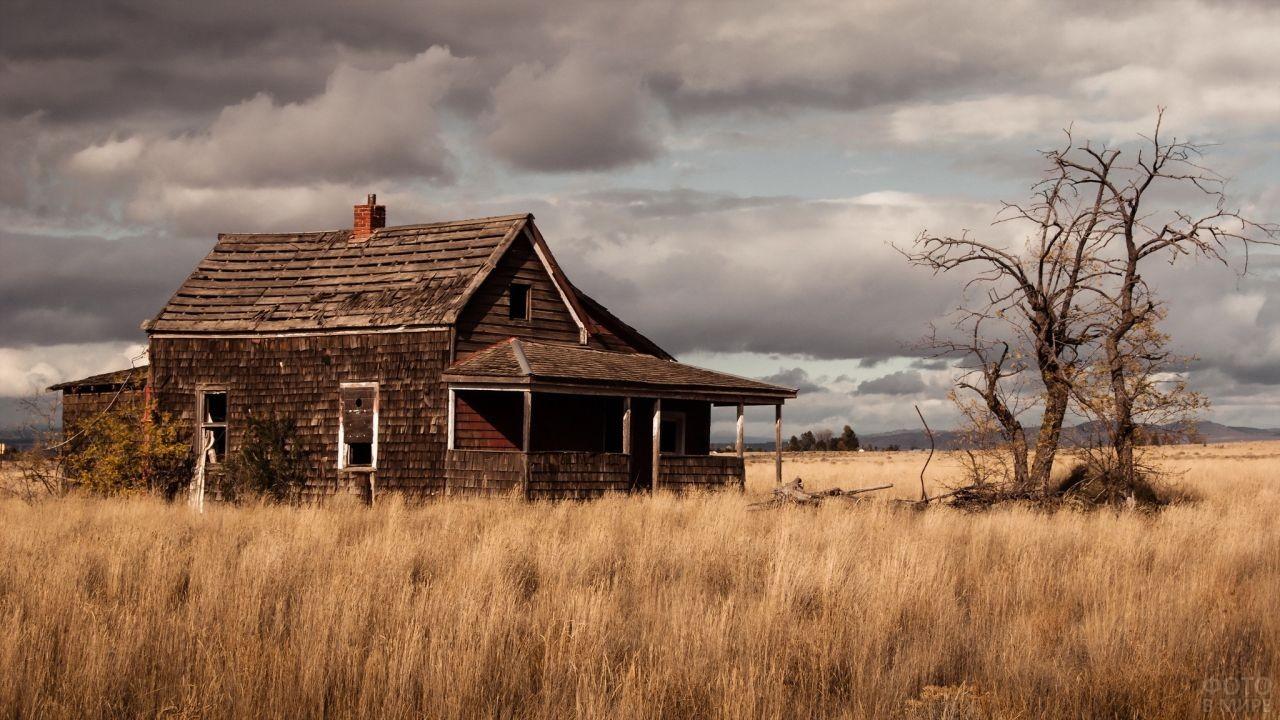 Заброшенный дом в поле