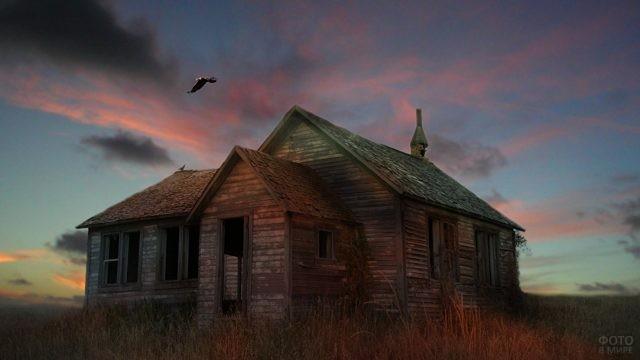 Забытый деревянный дом в степи