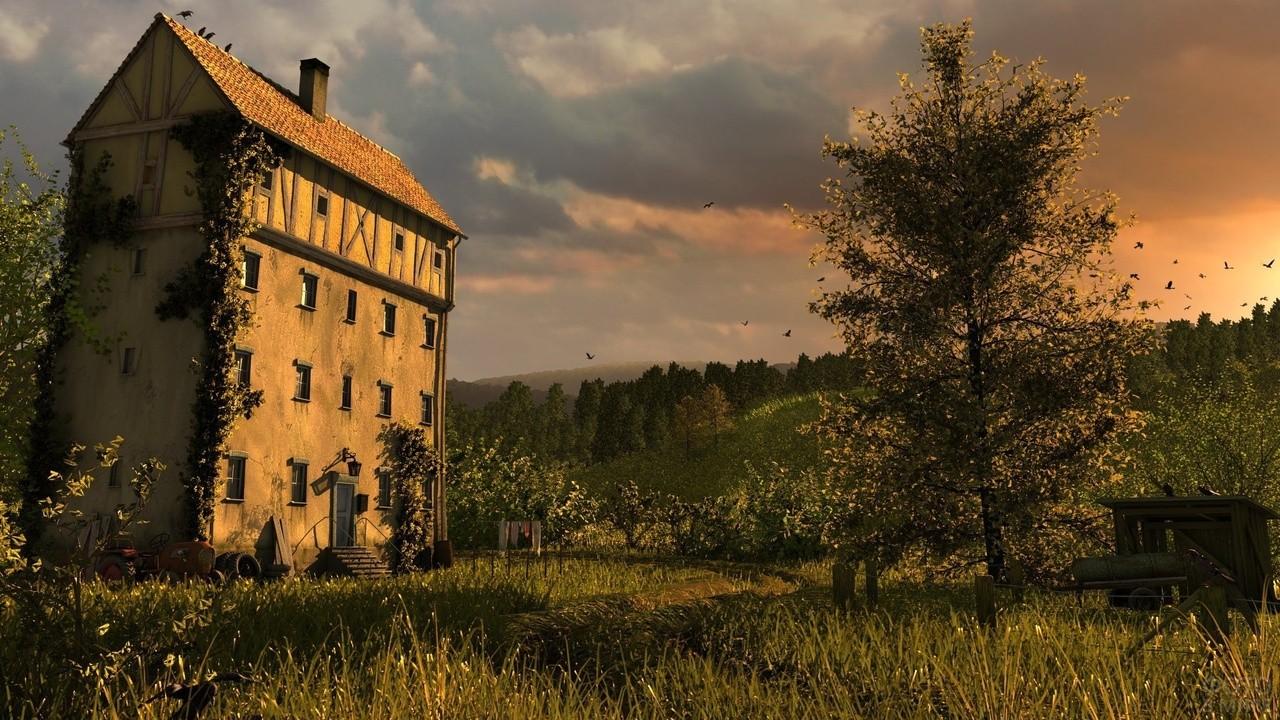 Забытый одинокий домик на холме