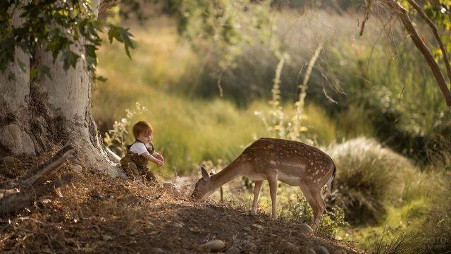 Малыш с оленёнком в лесу