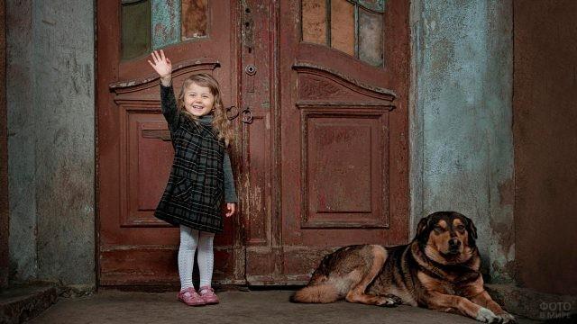 Радостная девочка с собакой