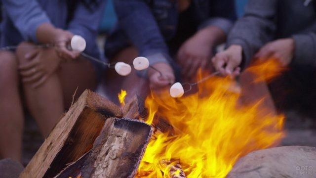 Зефир на палочках жарится костре
