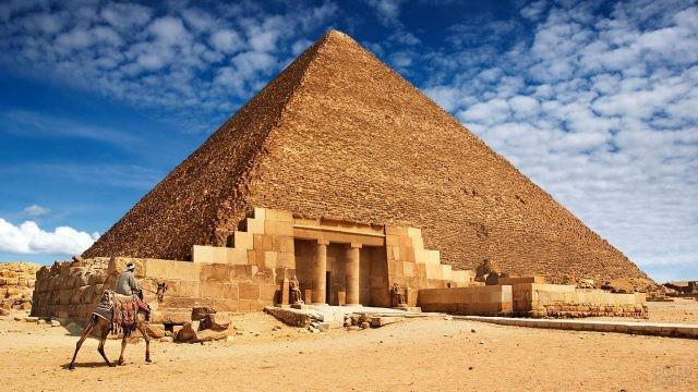 Египтянин на верблюде у входа в пирамиду Хеопса