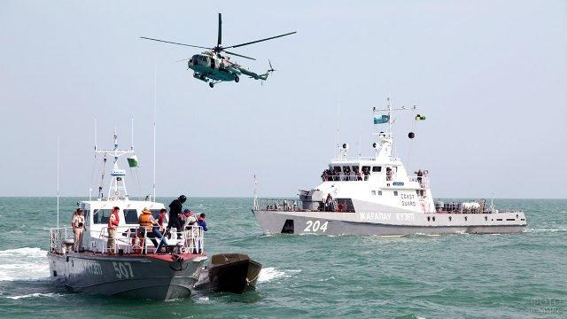 Военно-морские учения Каспийских пограничников