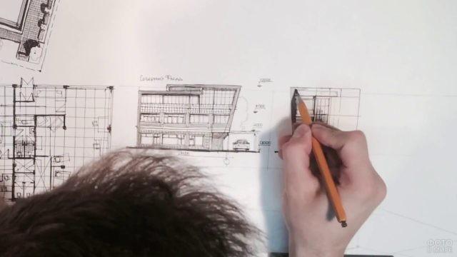 Рисунок архитектурного проекта карандашом
