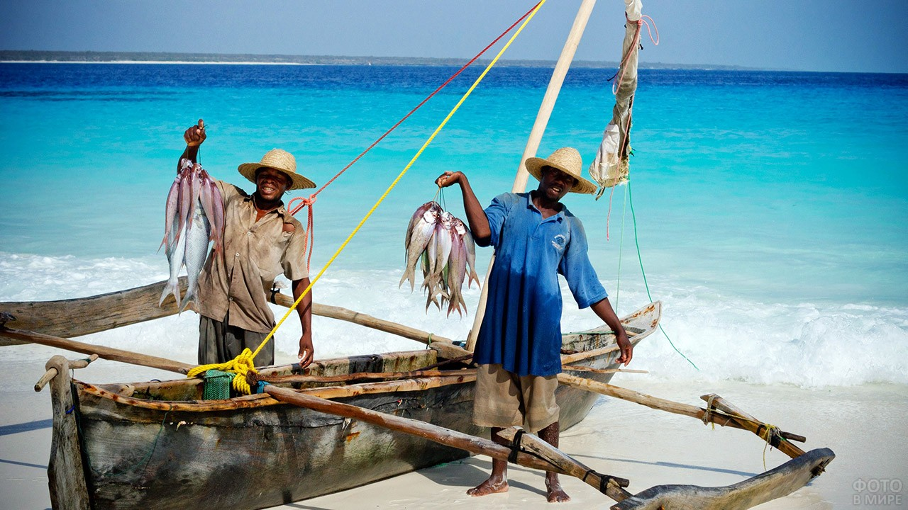 Аборигены с уловом рыбы на пляже Занзибара